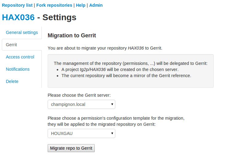 Migrate a project to gerrit