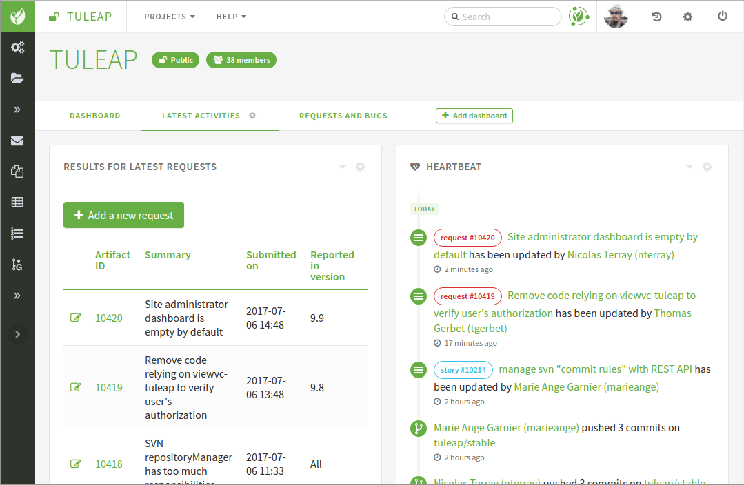 An example of project dashboard