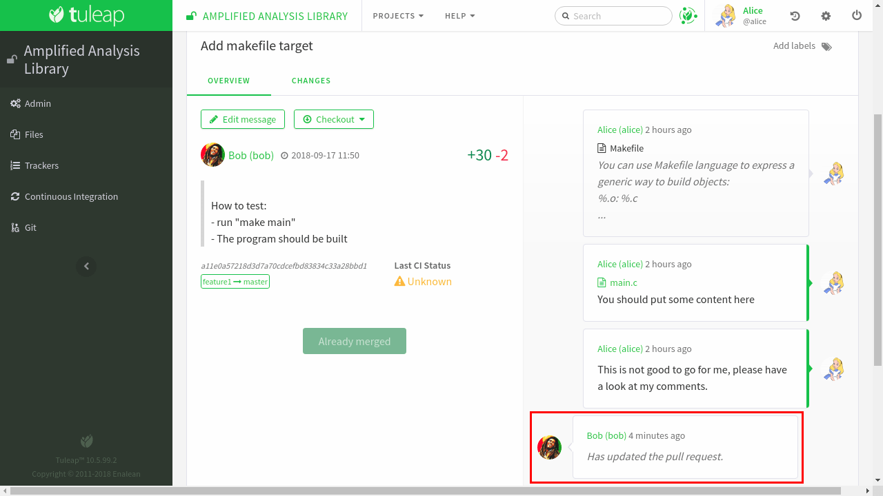 Code review with Tuleap Pull requests — Tuleap latest